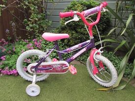 """Girls Bicycle with stabilisers - 14"""" wheels - Age 4+ - Good Condition - Purple & Pink"""