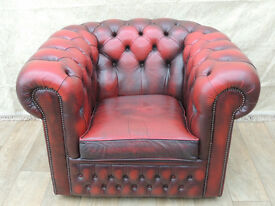 Chesterfield Club chair leather ox blood (Delivery)