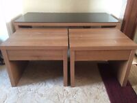 1 Coffee table with glass top + 2 nested tables (Full set)
