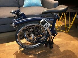 Brompton S2L Folding Bike Tempest Blue, Brooks Saddle