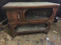 Double animal hutch cage