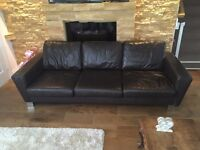 DESIGNERS THREE SEATER REAL LEATHER SOFA FREE DELIVERY IN LIVERPOOL