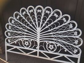 5ft bed head white wire frame wrapped in raffia type material