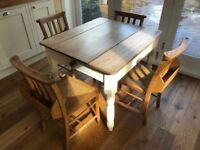Lovely wooden table with drawer and church chairs with trays to store books or crayons