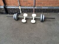 BARBELL WITH 4 weights and set of dumbells