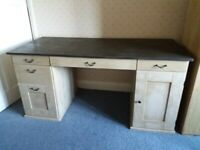 Large Dual Aspect Painted Solid Pine Desk with Twin Pedestal & removable thick Glass Top