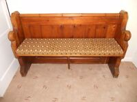 Lovely old Church Pew 4ft 9ins long (145cms) with cushion