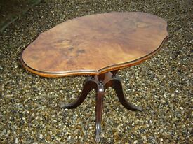 ANTIQUE VICTORIAN WALNUT SERPENTINE TILT TOP BREAKFAST LOO TABLE
