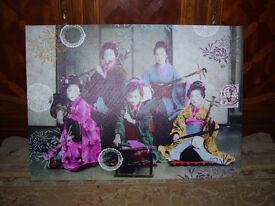 Large vintage style Geisha musicians canvas print / picture