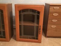 Kitchen cupboards glass doors x3
