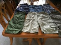 Boys cargo shorts 6 pairs various colours suit age 9/10 years