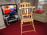 pine chair table and high chair all in one very good condition