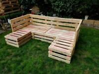 Garden wooden pallet double L Shaped furniture