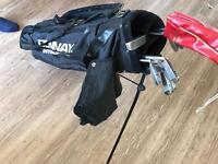 Set of golf clubs, bag and balls