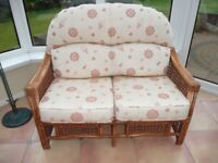 Conservatory furniture cane two seater settee, two armchairs and nest of tables