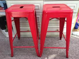 Tolix style metal stackable stools