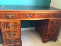 Twin pedestal green mahogany leather top writing desk