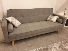 Grey 'click clack' sofa bed - excellent condition, less than a year old