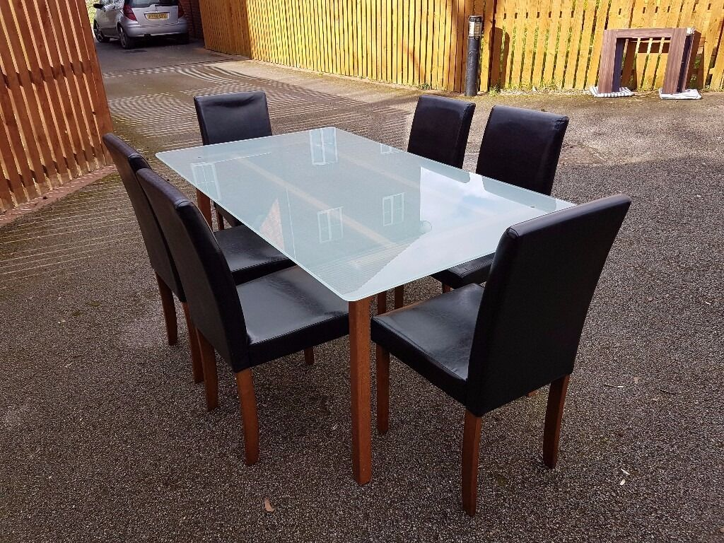 ikea frosted glass dining table   dark brown leather chairs free  - ikea frosted glass dining table   dark brown leather chairs free delivery()