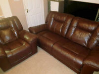 DFS Leather Reclining Suite. Sofa & Armchair