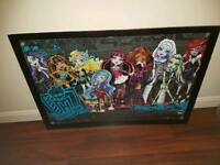 Large monster high picture in glass frame