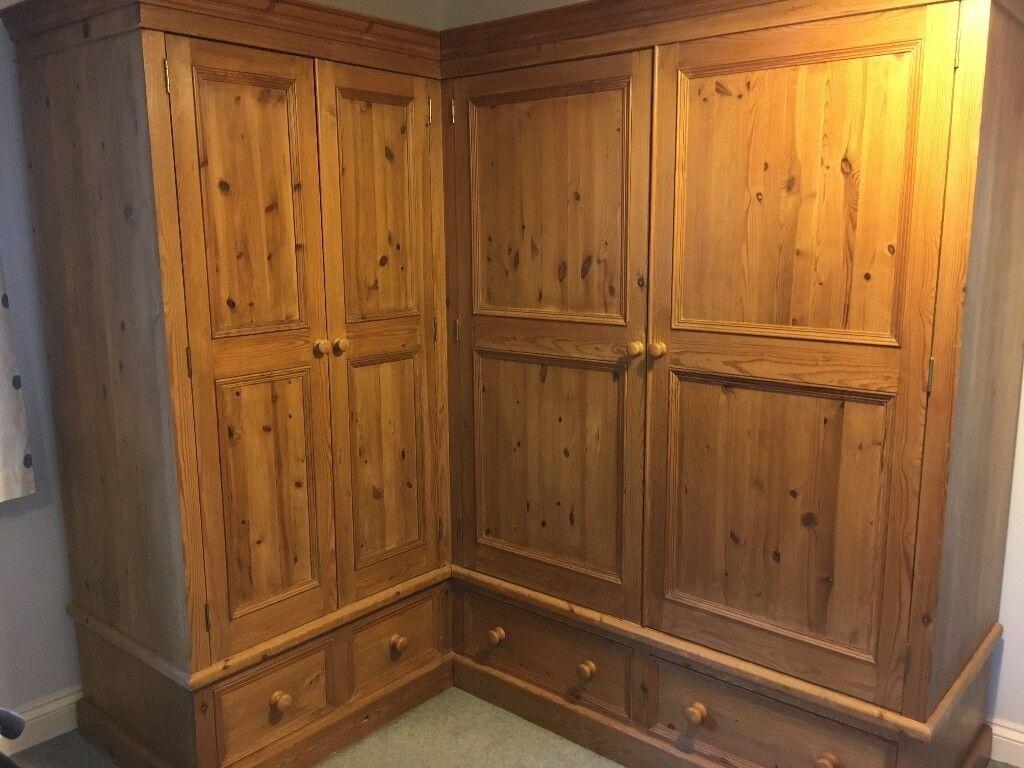 Large Corner L Shaped 4 Door Solid Pine Wardrobe