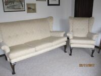 Sofa and two chairs Queen Ann style cream upholstery very good condition