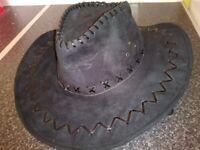 Ladies black suede cowboy style hat
