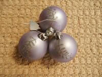 3 Pale Purple and Silver Glitter Christmas Tree Baubles Xmas Decorations