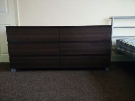 Double chest of drawers dark brown