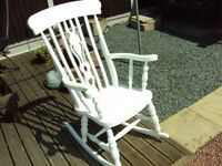 beech white painted rocking chair