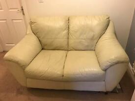 Free cream 2 seater leather sofa