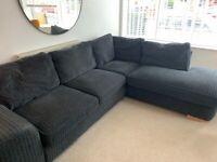 Dark grey fabric corner sofa 4/5 seater