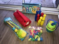 Super set outdoor pre-school/early years toys. Croquet, skittles, bubbles, tent, child's golf set