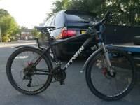 Btwin rockrider rockshox forks hydraulic disc brakes fat bars 26 inch wheels fully working bargain