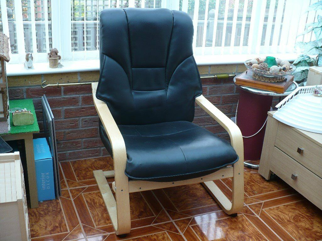 BLACK LEATHER CASUAL CHAIR