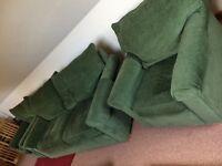 Green Velour Three Seater 3 Piece Suite