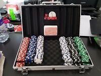 Roulette chips card game gambling casino set