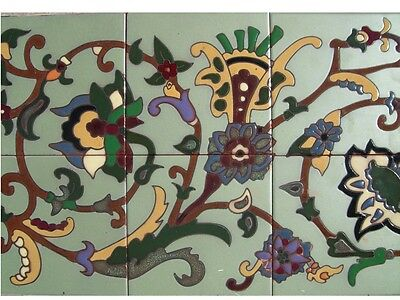 Gorgeous Repeating Malibu Tile Mural 12x24 Indoor & Out Hand Painted