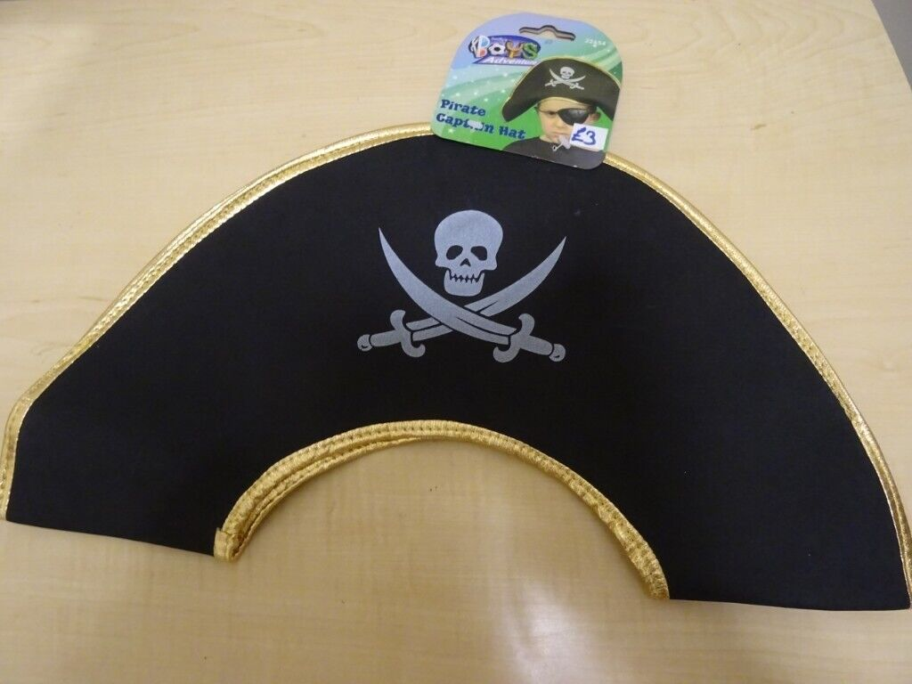 Two 2 Sets of Pirate Party Caps//Hats with Eye Patches