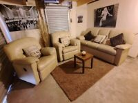 G Plan real beige leather 3 seater sofa and 2 electric reclining chairs amazing comfort