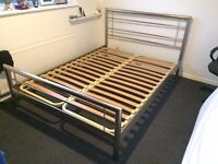 Brushed steel effect double bed