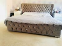 Super king size bed with crystal diamonte buttons