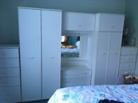 White modern wardrobes drawers and mirror set