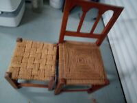 vintage small kids wicker chair and stool, used as ornamental
