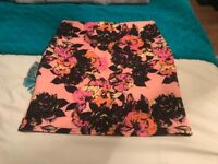River island size 8 coral floral skirt