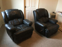 2 X Leather American Recliner Chairs with Massage from costco cost £1000
