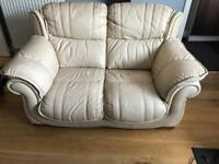 DFS SAMANTHA ALL LEATHER CREAM 2 SEATER SOFA
