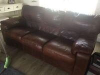 Tan leather 3,2,1 sofa