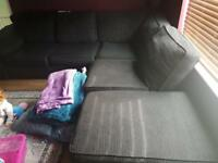 Large black corner sofa